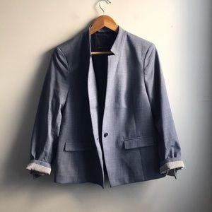 Banana Republic blue crosshatch career blazer
